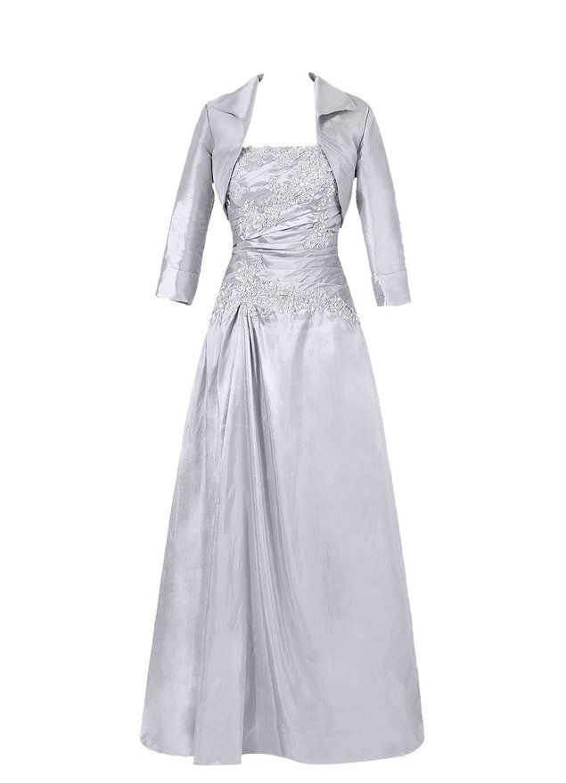 Diyouth Long Sleeves Lace Mother of the Bride Dress with Jacket Silver Size 8