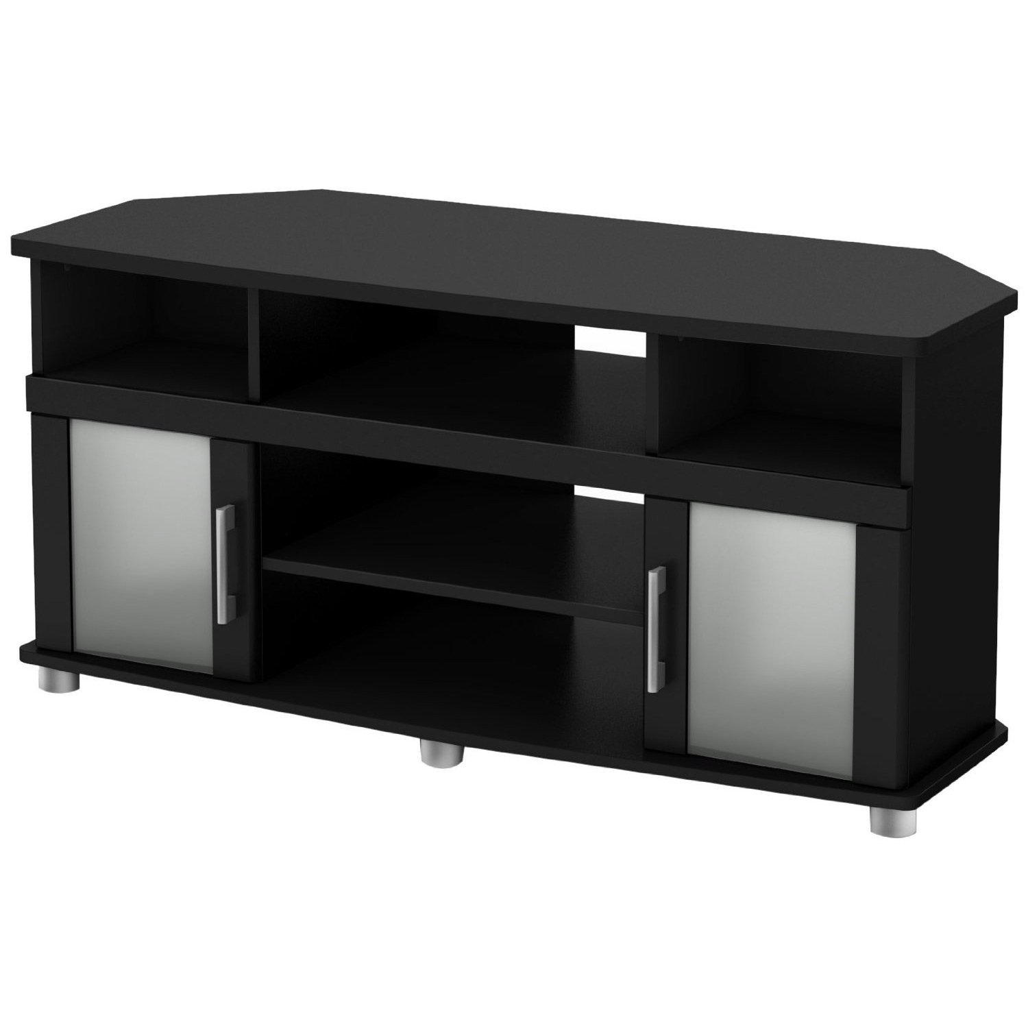 Black Corner Tv Stand With Frosted Glass Doors Black Corner Tv Stand Corner Tv Frosted Glass Door