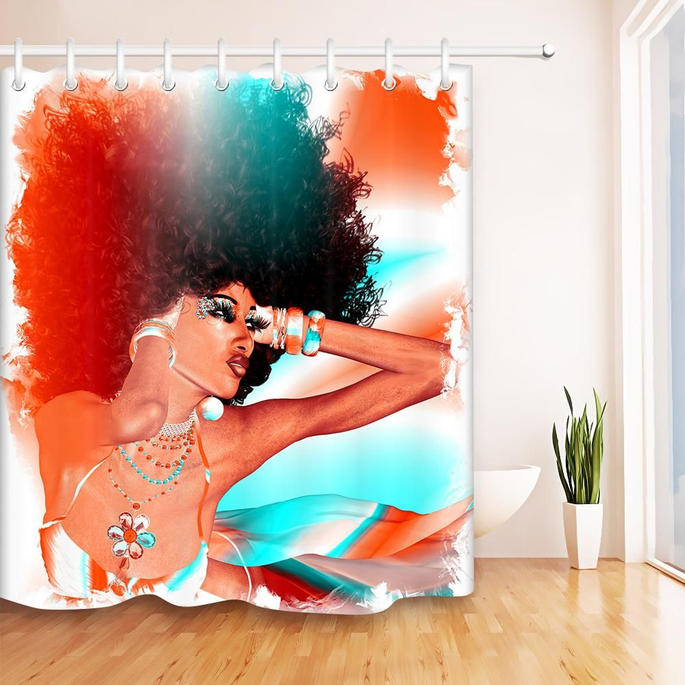 Beautiful Black Woman With Afro Style Hair Bathroom Shower