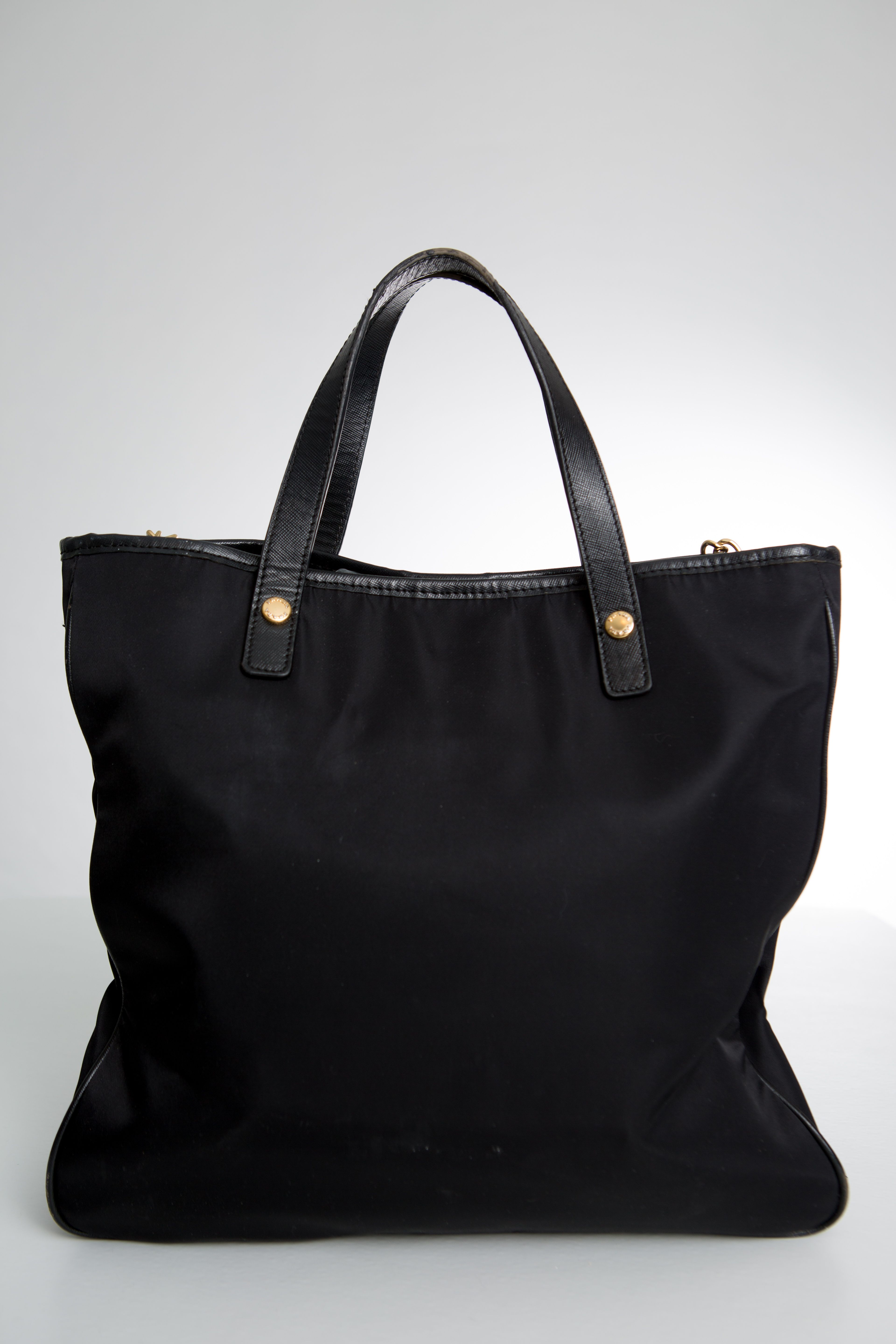 2b00e1a8f5f9 Prada-Milano-Black-Nylon-Tote-Bag-Shoulder-Bag-Cross-Body  -Strap-Leather-Cut-Out-Gold-Lettering-LE-0812