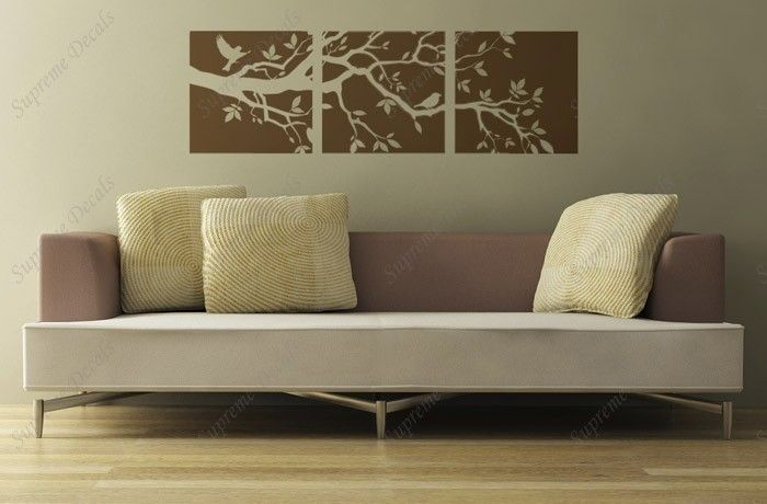 tree branch and birds three panel decals 60 inch wide wall art home decors murals. Black Bedroom Furniture Sets. Home Design Ideas