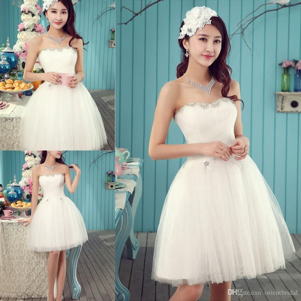Little White Wedding Dresses 2015 Strapless Tulle Short Dresses ...