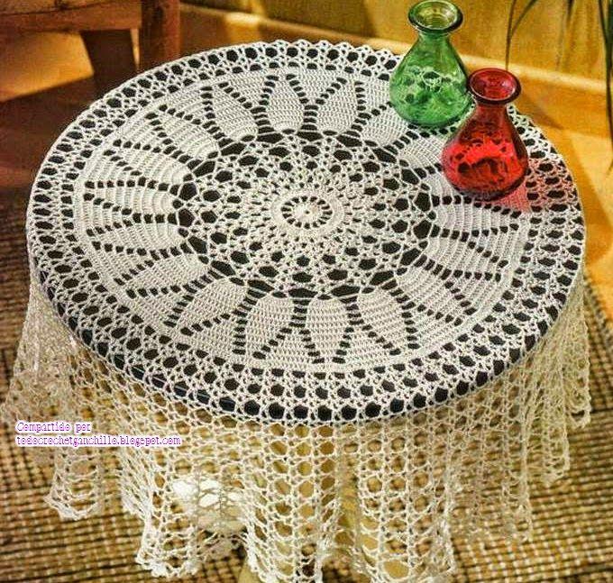 Todo crochet | Pinterest | Patrones de mantel, Mesa redonda y Mantel