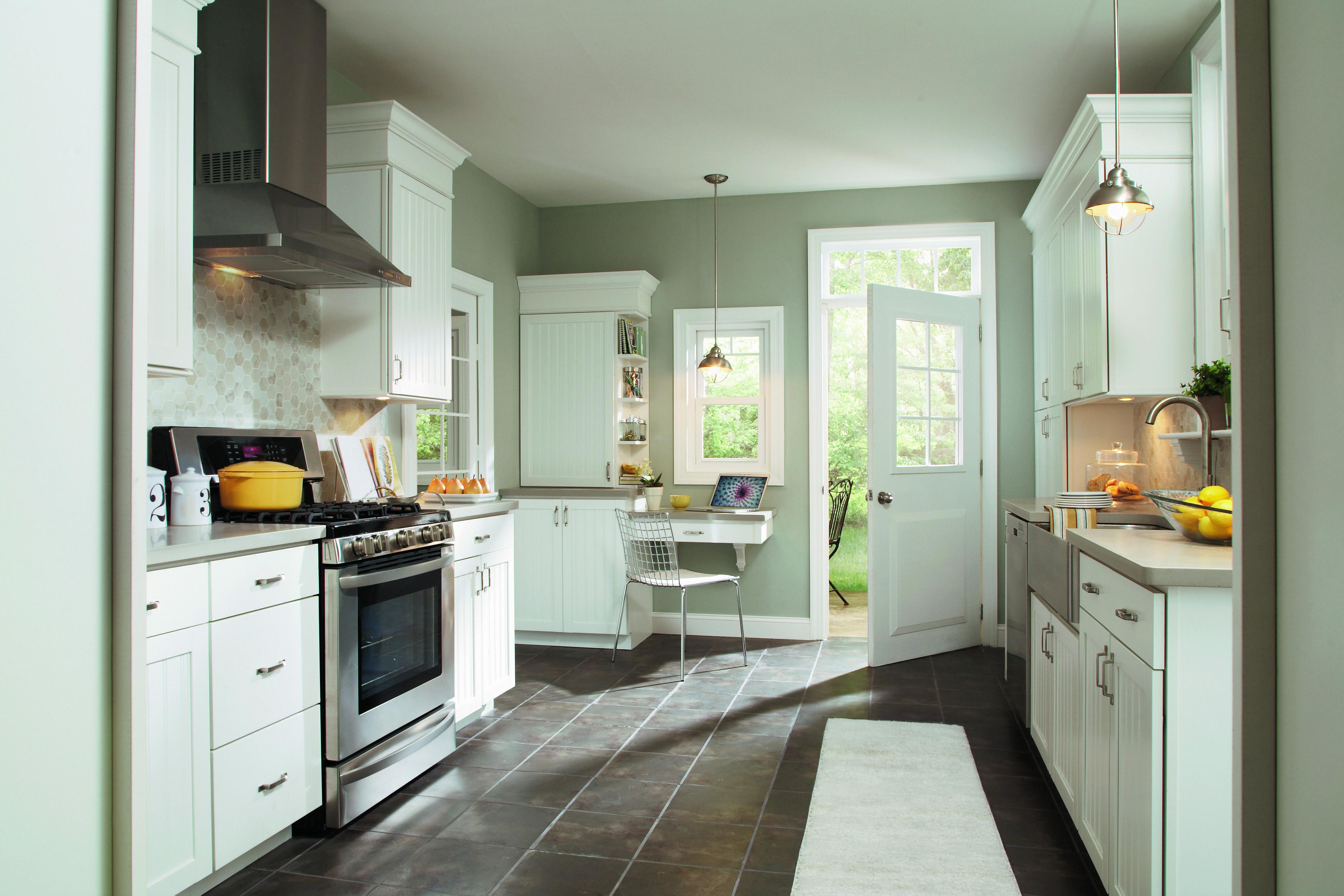 Best Kitchen Gallery: Aristokraft Ellsworth Door Style With Purestyle™ White Finish of Benjamin Moore Sea Haze Kitchen Cabinets on rachelxblog.com