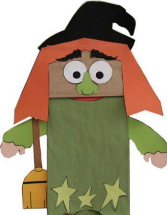 Títere De La Bruja Con Bolsa De Papel Halloween Preescolar Títeres De Bolsas De Papel Manualidades Halloween