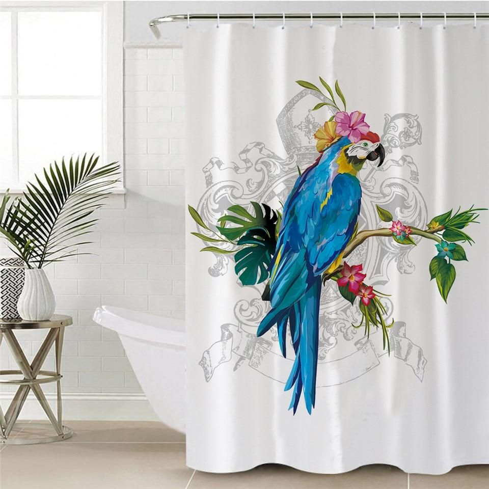 Flower Parrot Shower Curtain With Hooks Curtains Custom