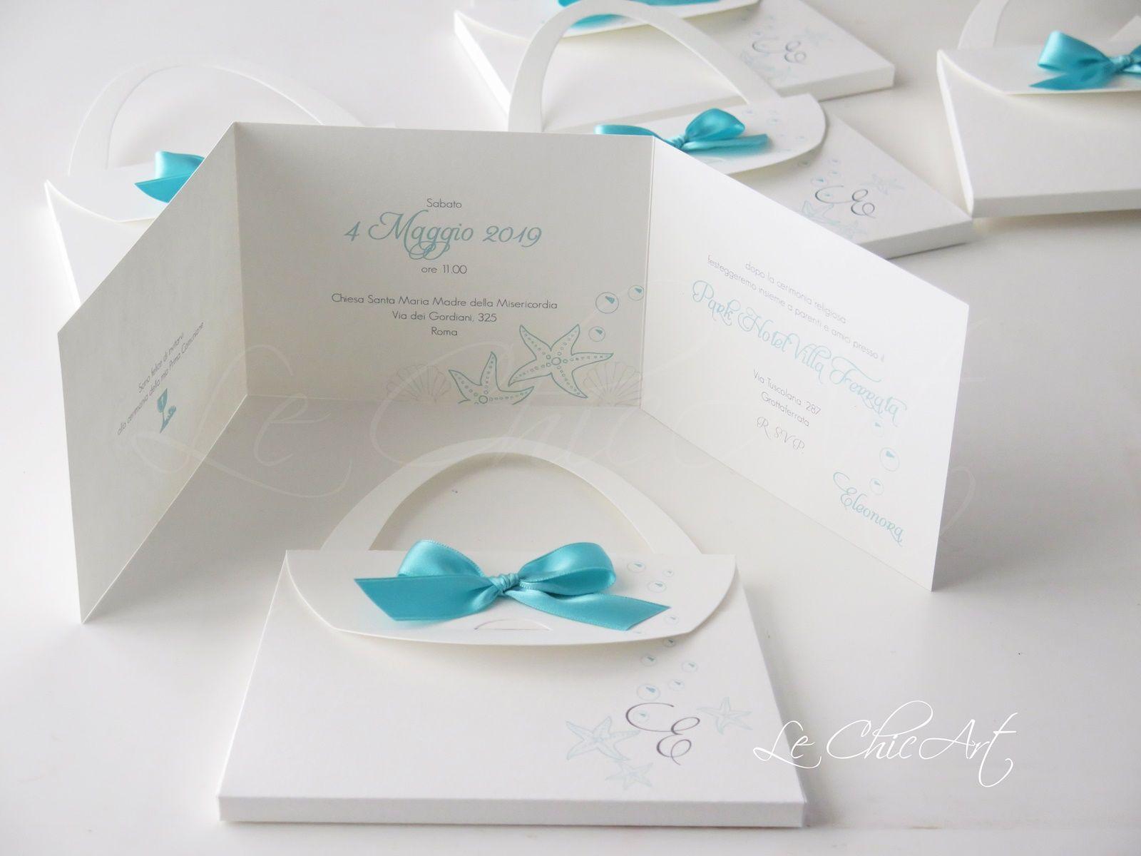 Invito Comunione Tema Mare Tiffany Modello Borsetta Nozze Partecipazioni Nozze Bomboniera