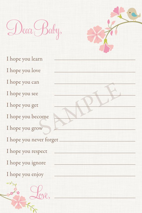 Little Bird Dear Baby Wishes Baby Shower Game   Printable