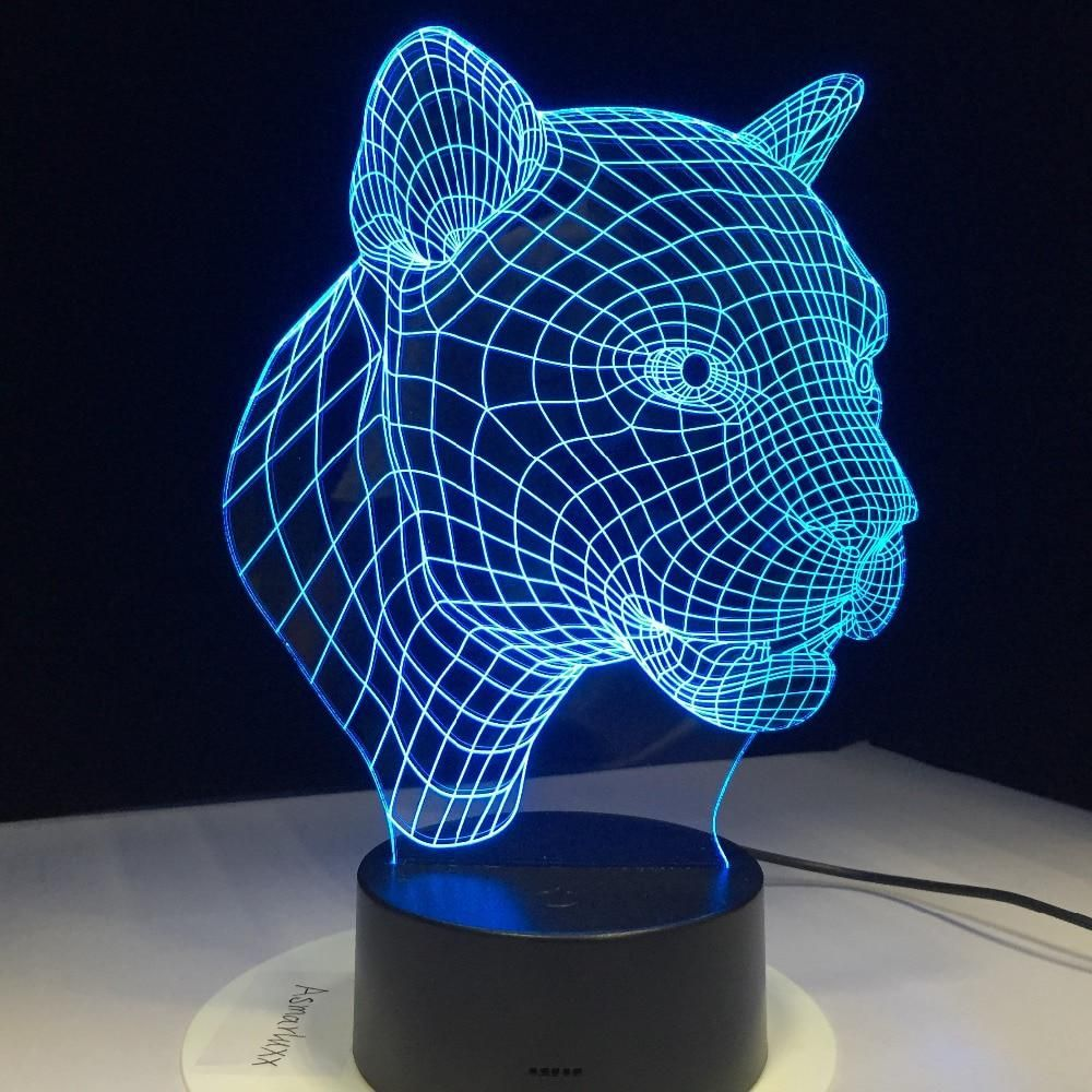 Cartoon Leopard Animal 3d Desk Table Lamp 7 Color Night Light Touch Lamp Kids Children Family Halloween Holiday School Gift 3d Night Light Led Glow Lights