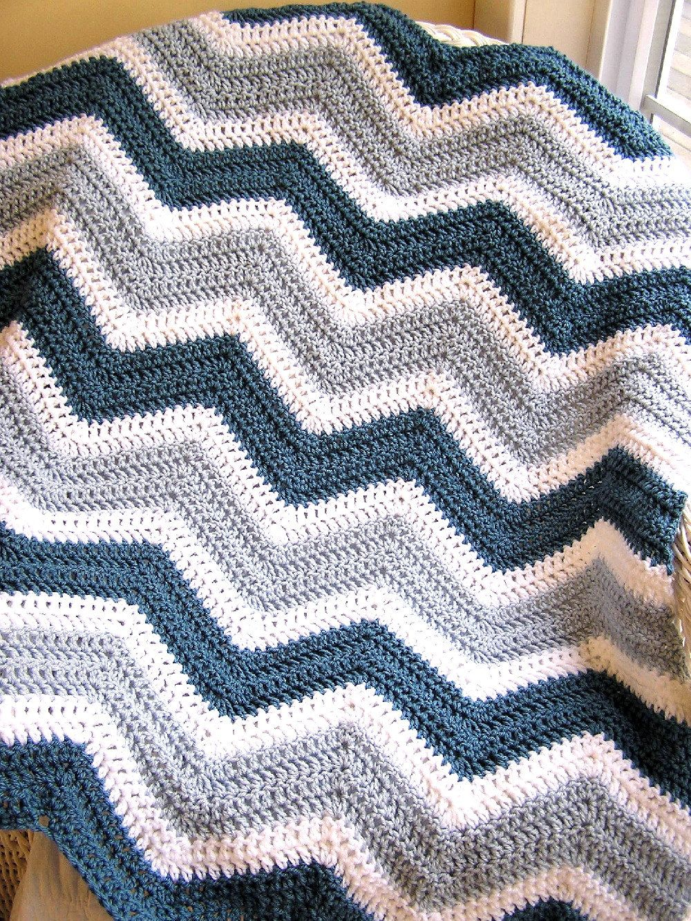 chevron crochet knit baby toddler afghan blanket wrap lap wheelchair ...