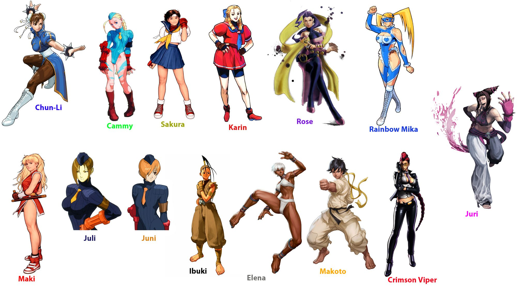 Street Fighter All Characters Street Fighter Girl Character