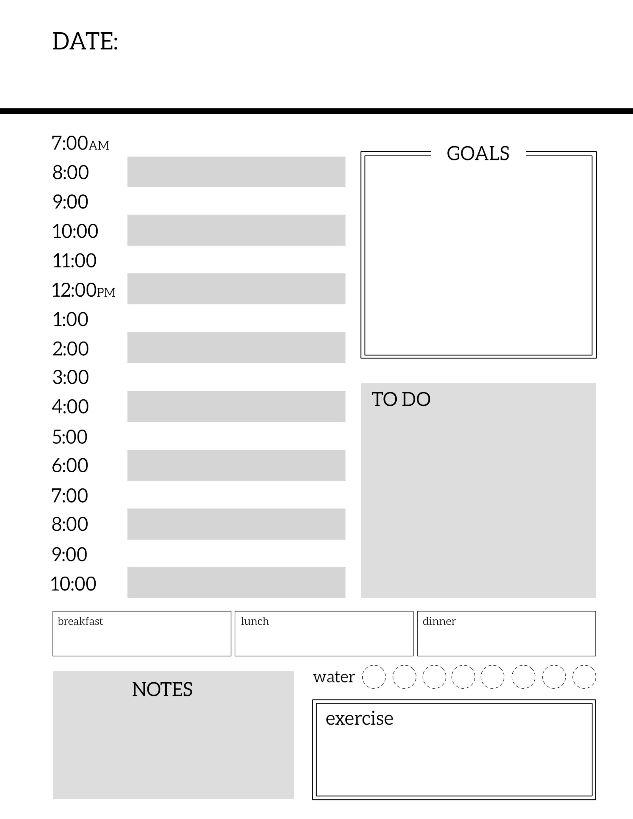 Free Printable Meal Planner Template Journal Daily Planner