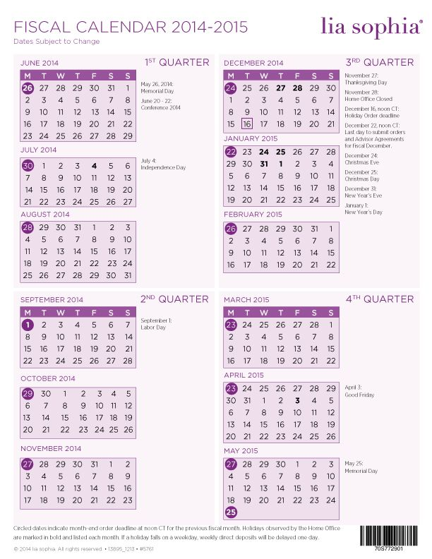 Lia Sophia    Fiscal Calendar Starts With Monday Not