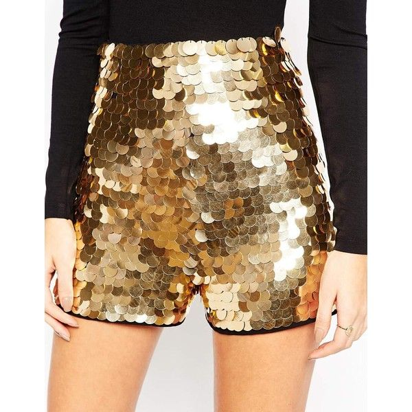 8139918d ASOS NIGHT Shorts in Gold Disc Sequins ($42) ❤ liked on Polyvore featuring  shorts, tall shorts, woven shorts, asos, sequin shorts and gold sequin  shorts