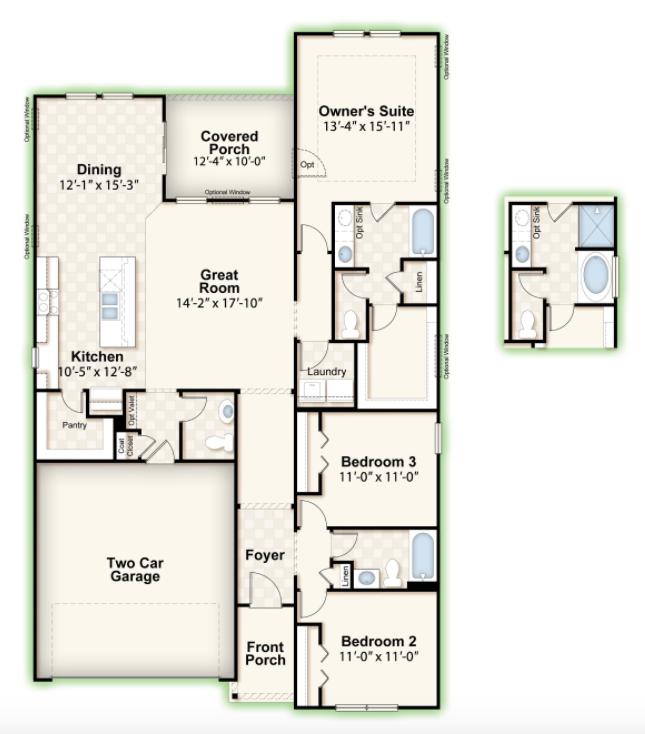 HILLCREST || Square Feet: 1749 || Bedrooms: 3 || Full Baths: 2 | Half Baths: 1 || Stories: 1 || Garage: 2-Car
