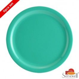 Servewell 6 Pc Round Side Plate Set - Sea Green