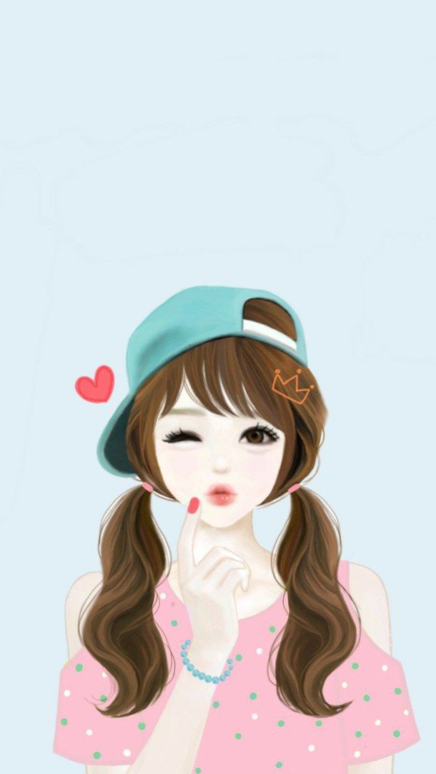 Girl Korean Enakei Wallpaper Kawaii Cute Drawing Background