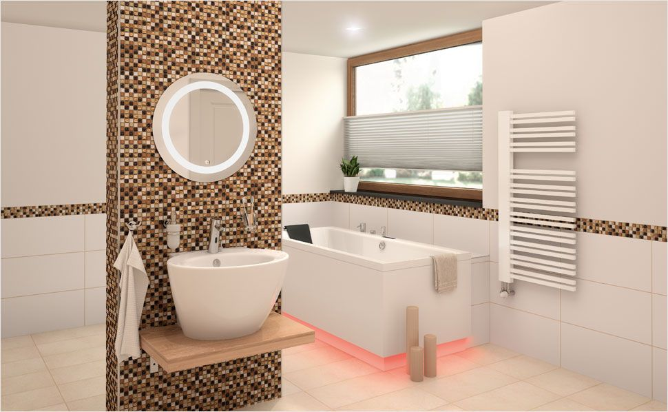 Kleine mozaiek tegeltjes geven je badkamer net dat beetje extra
