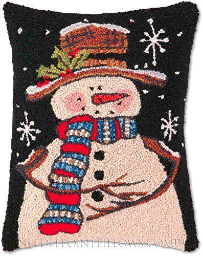 Handmade Folk Art 100 Wool Winter Frosty The Snowman Midnight Snowflake Holiday Americana Folk Art C Throw Pillows Christmas Winter Pillows Wool Throw Pillows