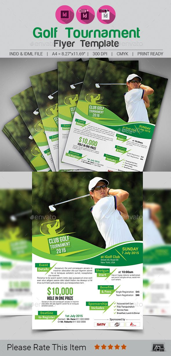 Golf Tournament Flyer Template Flyer template, Golf and Template