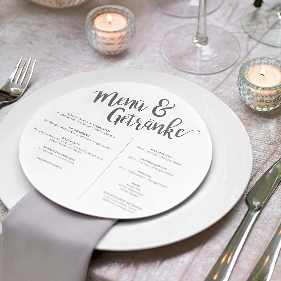 Menukarten Rund Und Ehrenplatz Schilder Menukarte Erstellen Karte Hochzeit Hochzeitstischdeko