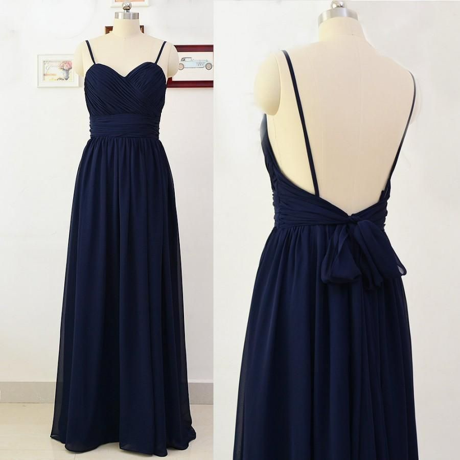 Navy blue prom dressbackless evening dressfashion prom dresssexy