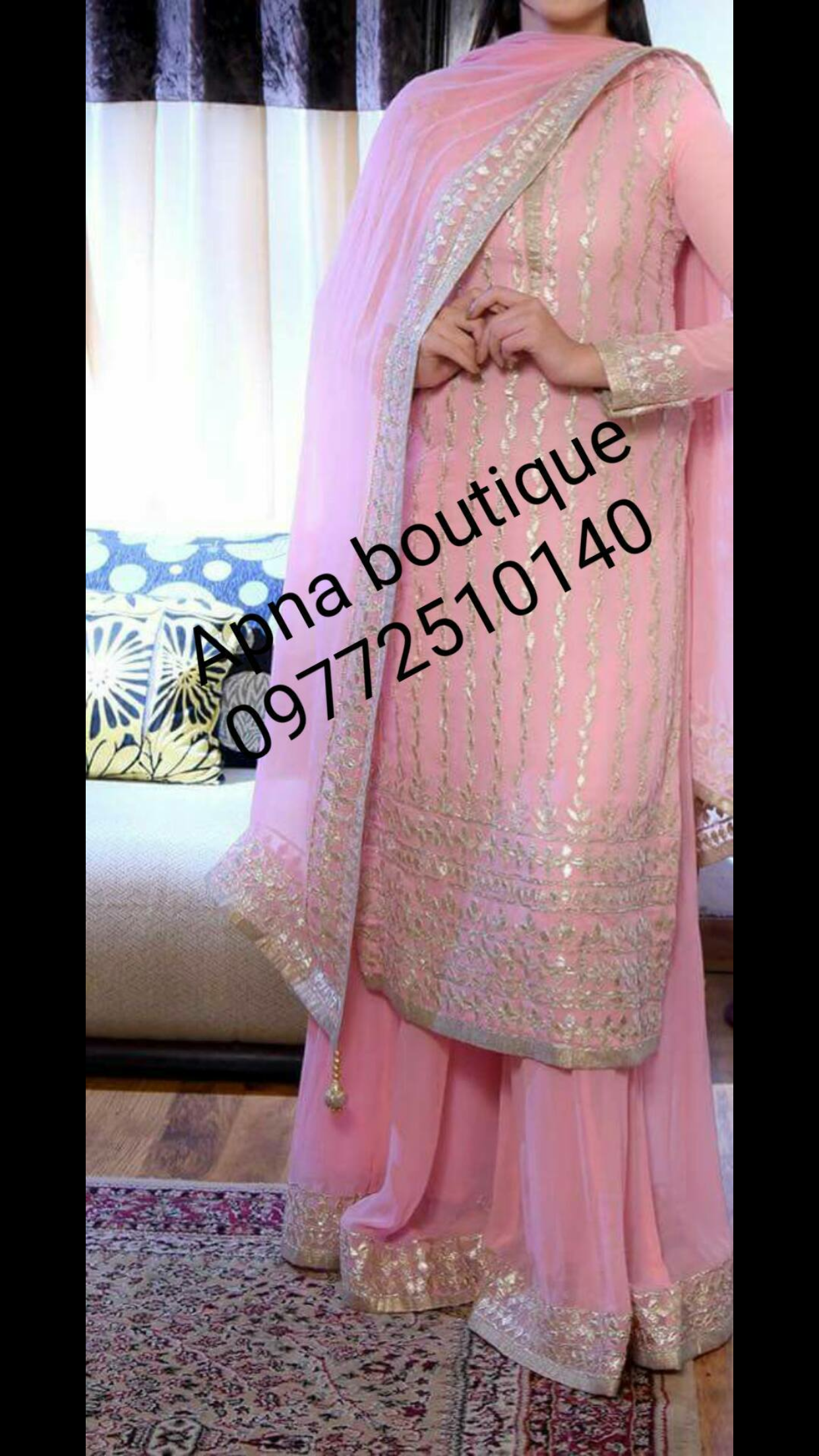 20a64e5765 Pink gota work suit