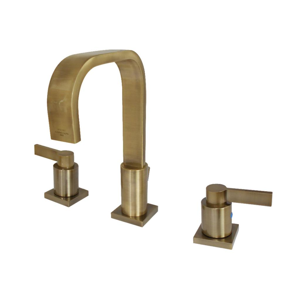 Kingston Brass Nuvofushion 8 In Widespread 2 Handle High Arc Bathroom Faucet In Vintage Brass Bathroom Faucets Widespread Bathroom Faucet Kingston Brass