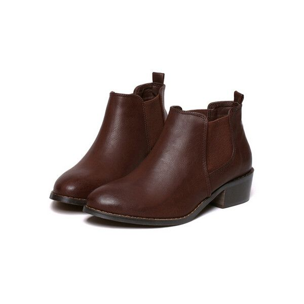 Brown Round Toe PU Boots (£24) ❤ liked on Polyvore featuring shoes, boots, brown, brown shoes, short heel boots, low heel boots, round cap and small heel boots