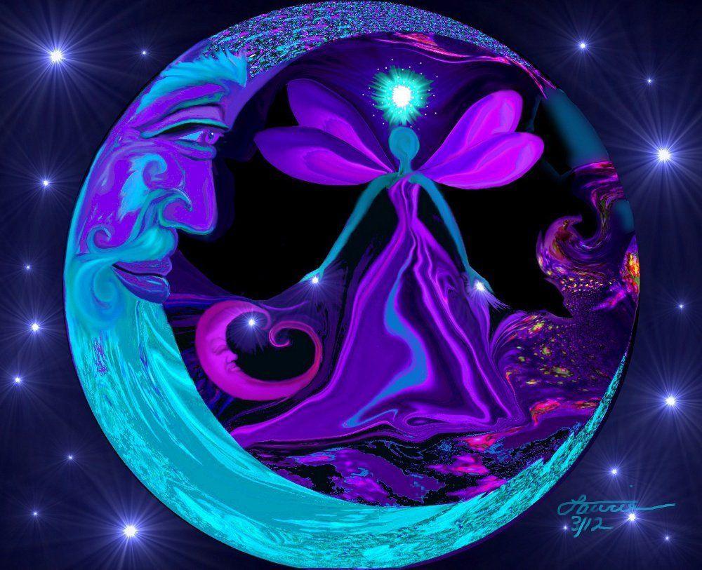 Psychedelic wall decor angel art moon and stars wall art