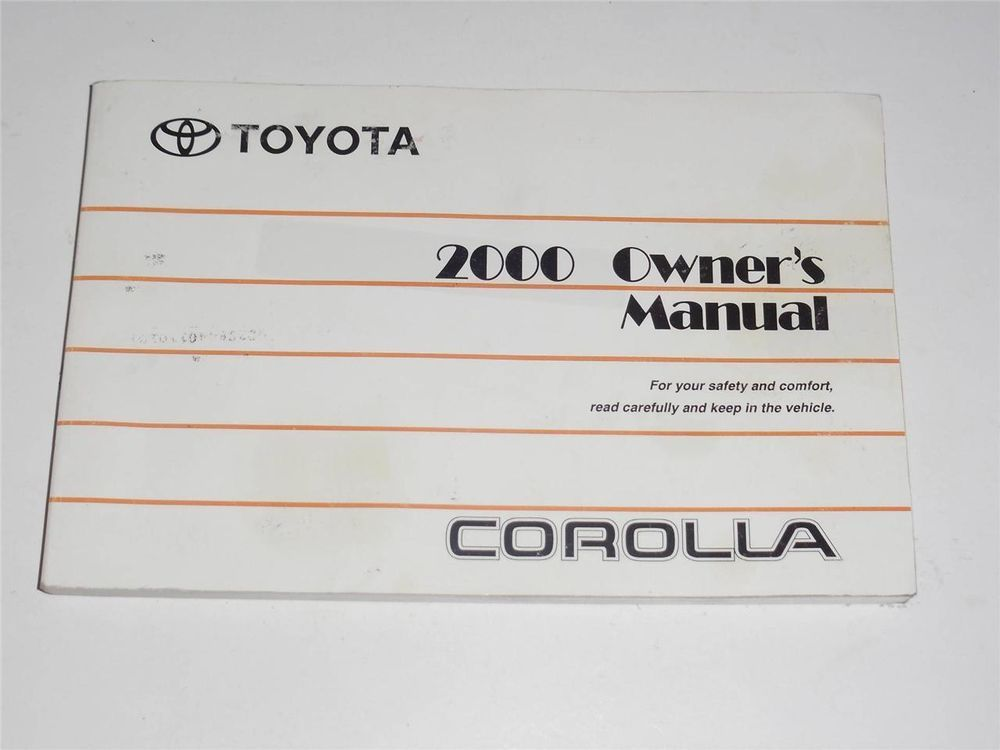 2000 Toyota Corolla Owners Manual Book Owners Manuals Toyota Corolla Toyota