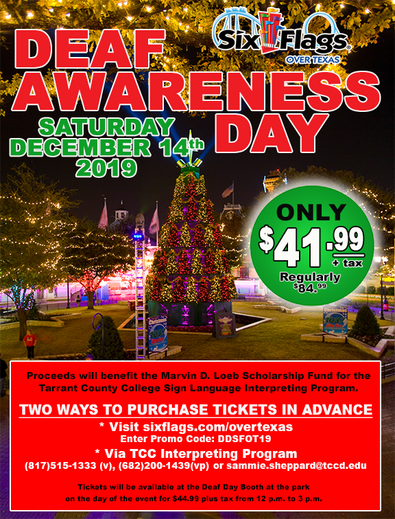 Sixflagsovertx Is Hosting Deaf Awareness Day For The Deaf And Hard Of Hearing During Holiday In The Park On Saturday Dec 14th We Had To Share T With Images Deaf Awareness
