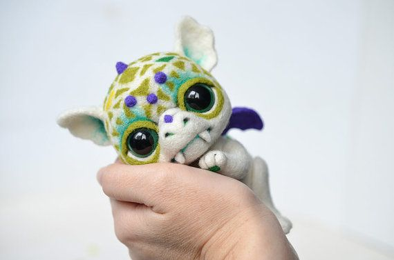 Needle felted little baby dragon. Sweet white monster. Cute fantasy creature. Fantastic beast. Fairy tale. Collectible toy. Christmas gift.