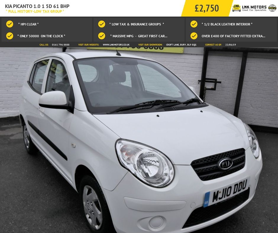 2010 10 Kia Picanto 1 0 1 5d 61 Bhp Full History Low Tax Group