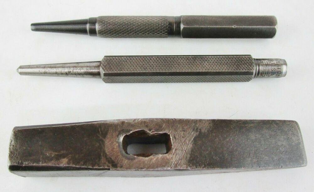 Machinist Tool Lot Starrett Unknown Brands Center Nail Set Punch Hammer Head Starrettunknown Machinist Tools Hammer Head Nail Set