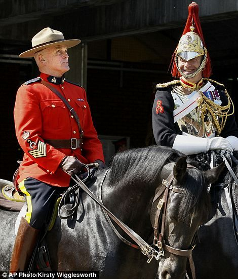 Canadian Mounties will act as the Queen's personal bodyguard. (May 23)  In the run-up to the Diamond Jubilee, the Queen invited the Royal Canadian Mounted Police (RCMP) to take part in the 11 o'clock Changing of the Queen's Life Guard ceremony with the Household Cavalry. The Mounties will become the first non-military unit to guard the Queen during the centuries' old tradition.
