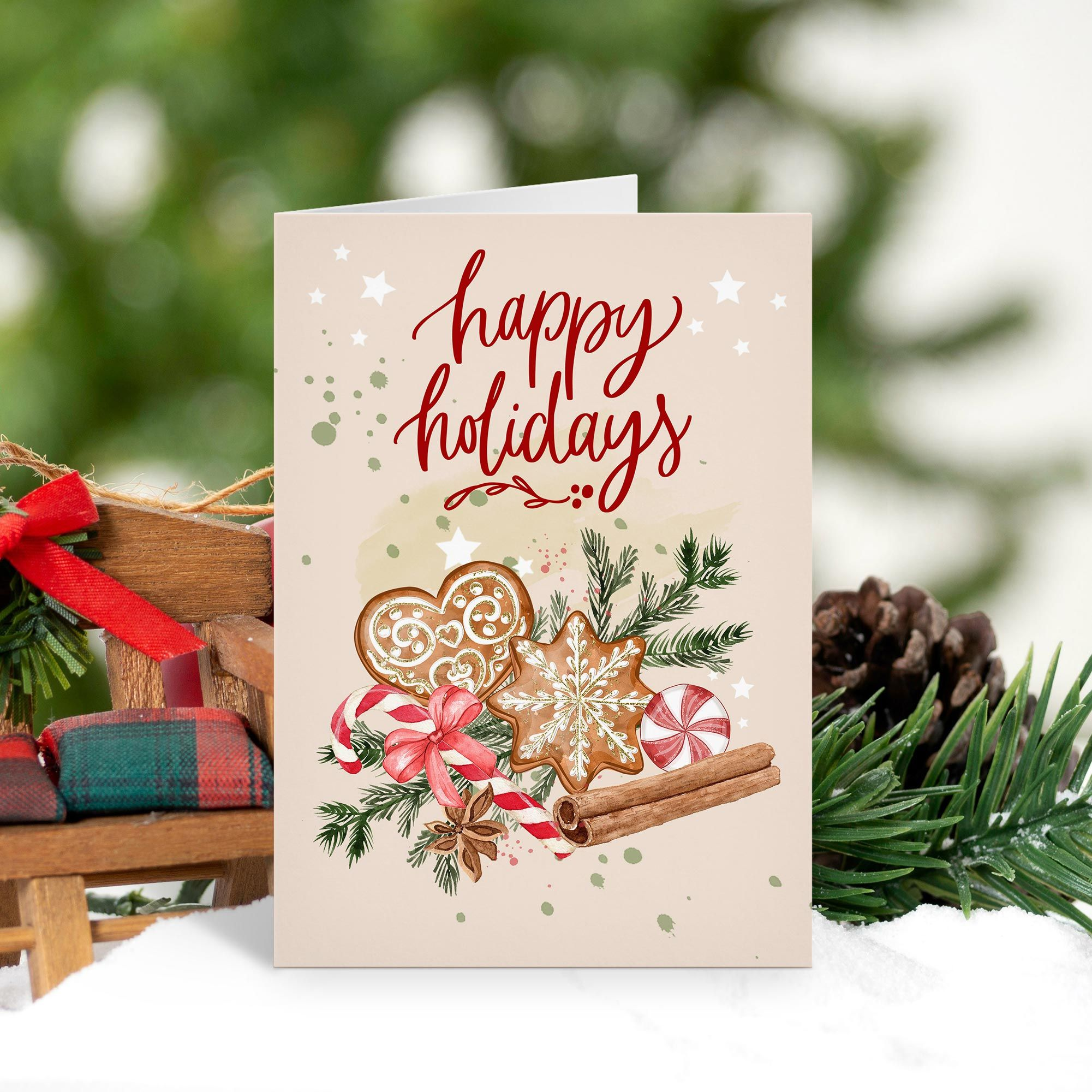 Happy Holidays Cookies Christmas Holiday Card Zazzle Com In 2021 Happy Holiday Cards Christmas Holiday Cards Christmas Greeting Cards