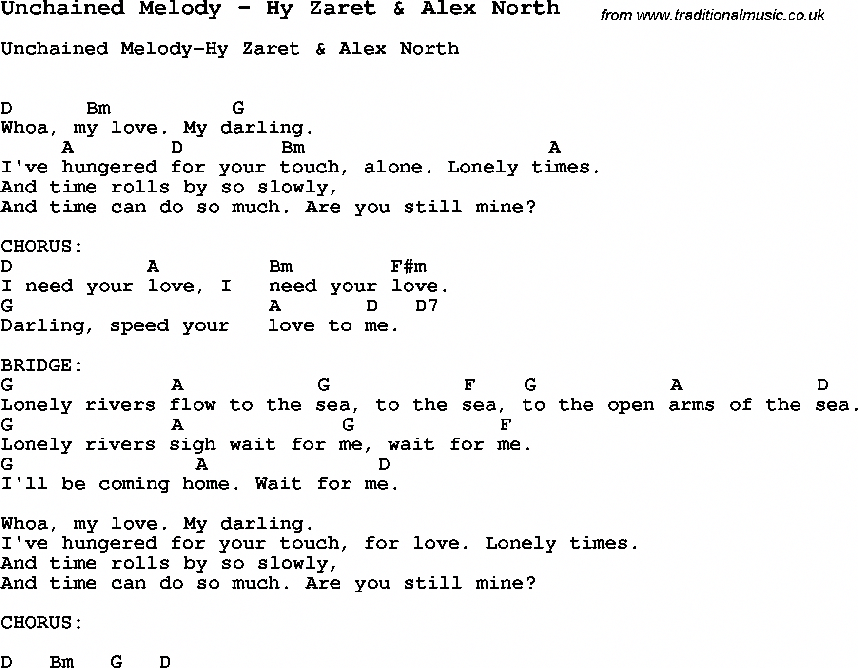Song Unchained Melody By Hy Zaret Alex North With Lyrics For