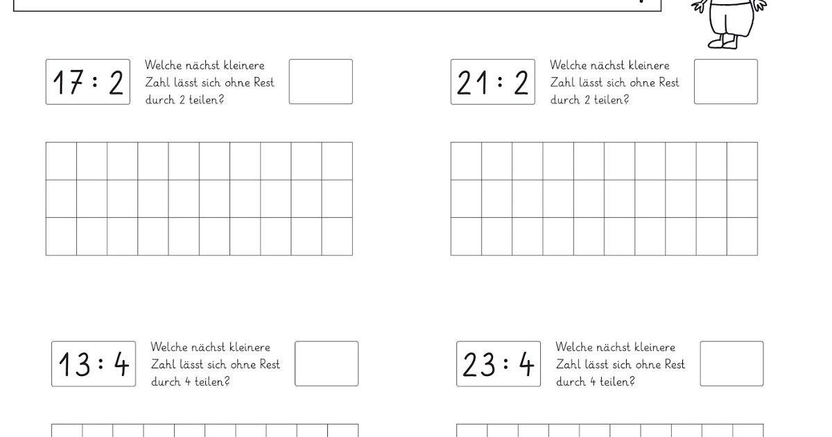 Arbeitsblätter zum Teilen mit Rest (2) | Arbeitsblätter, Mathe und ...