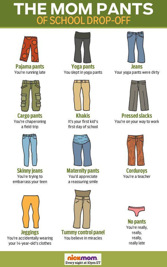 The Mom Pants of School Drop-Off | Mom pants, Mommy humor ...