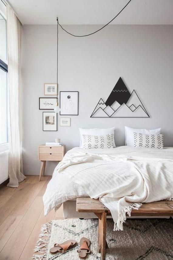 Photo of Mountains Metal Wall Sign, Metal Wall Art, Bedroom Wall Hangings, Scandinavian Home Wall Decor, Office Wall Sign, Minimal Home Decor