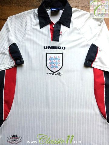 Relive England S 1998 1999 International Season With This Vintage Umbro Home Football Shirt New Football Shirts Football Shirts Classic Football Shirts