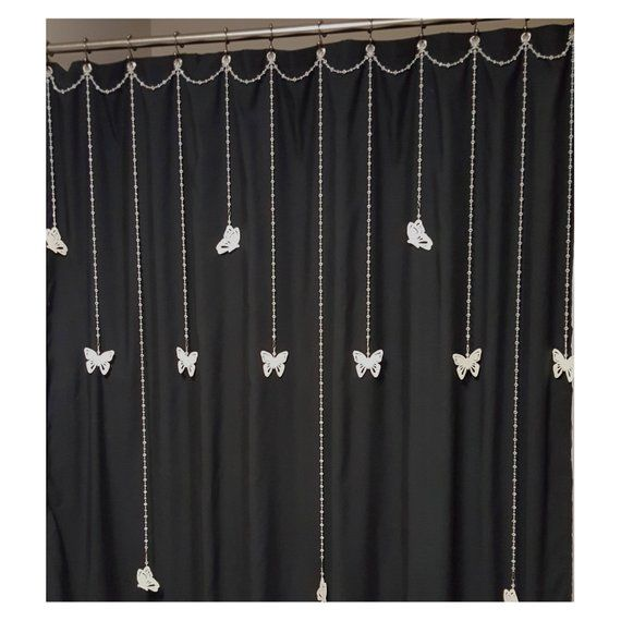 Single Swag Beaded Shower Curtain Bling With 12 Mid To Long Length