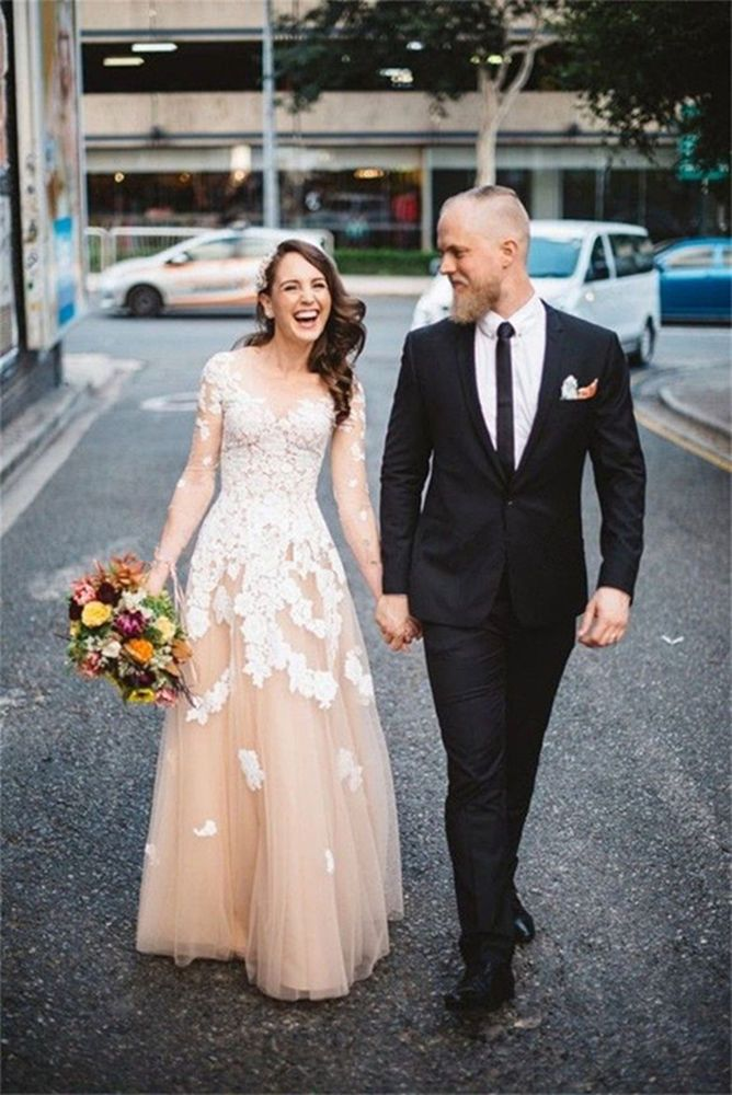 33fc379077407 Lace Champagne Tulle Wedding Dress Bridal Gown Custom Size 4 6 8 10 12 14  16 18   eBay