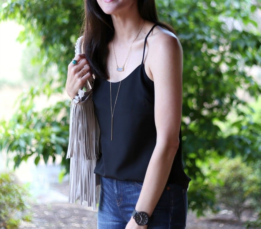 black tank, jeans and druzy necklace