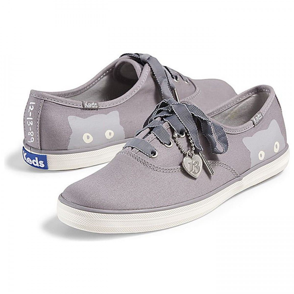 Womens Keds Shoes Grey Taylor Swift Champion Sneaky Cat Classic Canvas