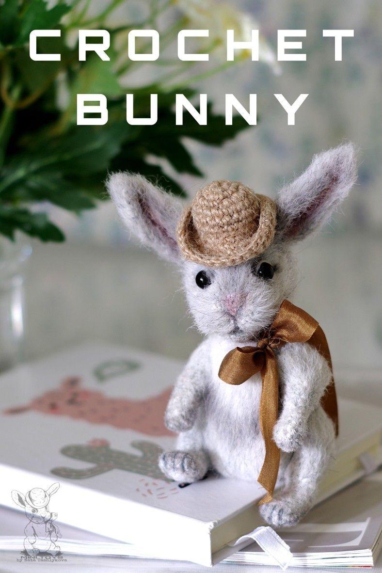 Cute bunny crochet pattern, miniature rabbit tutor