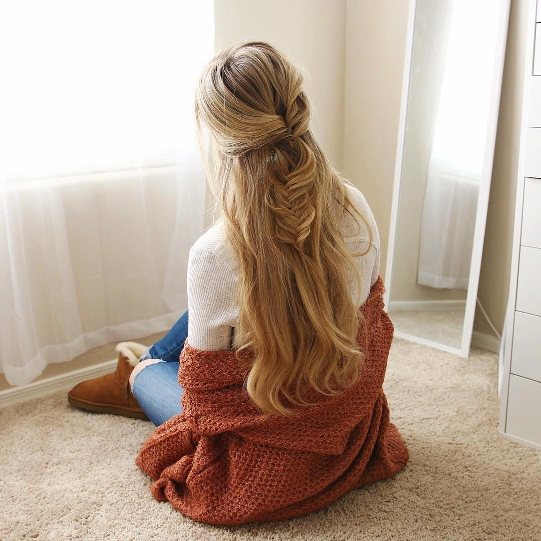 Fishtail braid half up beauty cute hairstyles long hair