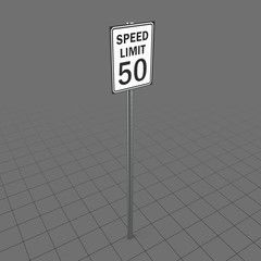 50 mph speed limit sign