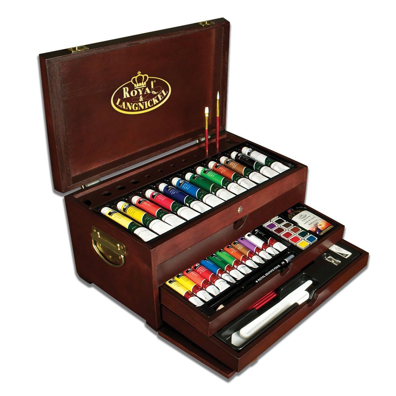 Painting Drawing Art Set Artist Kit Oil Acrylic Watercolor Wood